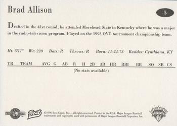 1996 Best Lethbridge Black Diamonds #5 Brad Allison Back
