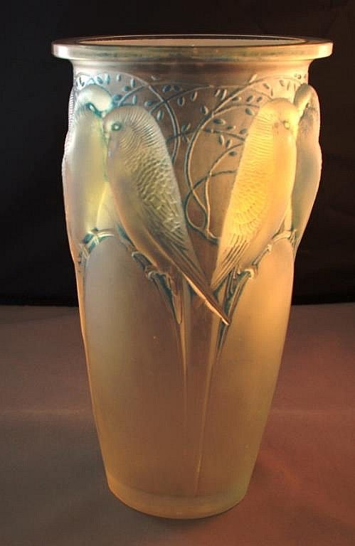Rene Lalique Vase Ceylan Budgies Highlighted In Blue 24cm High