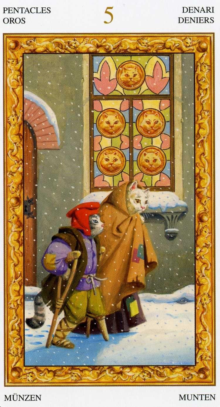 Tarot D The Didactic Tarot By Jeffrey M Donato: 5 D'écus - Tarot Chats Blancs Par Severino Baraldi