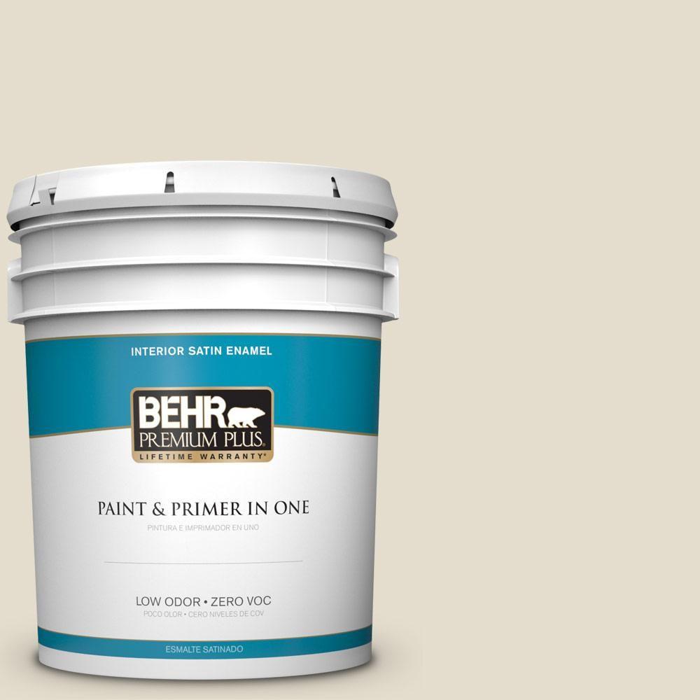 BEHR Premium Plus 5 gal. #PPU7-16 Vintage Linen Zero VOC Satin Enamel Interior Paint