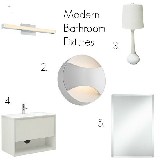 clean and simple contemporary bathroom lighting and accessories