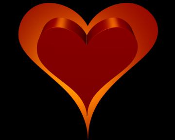 13959195541802823816heart 3d Double Red Orange Outside Heart Transparent Png 360 288 Transparent Background Valentine Heart Red Orange