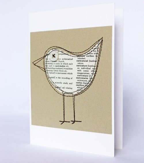 Dictionary paper bird card.