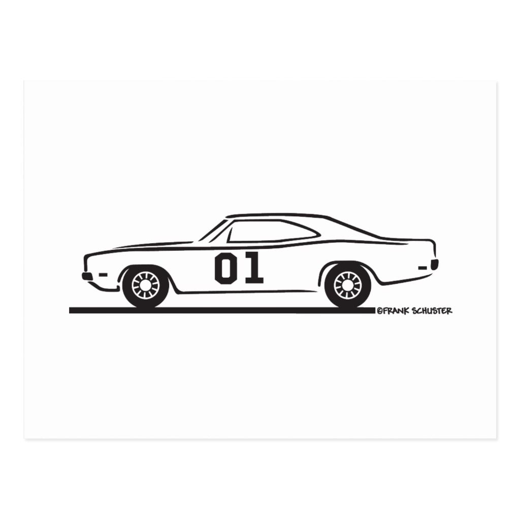 Dodge Charger General Lee Postcard