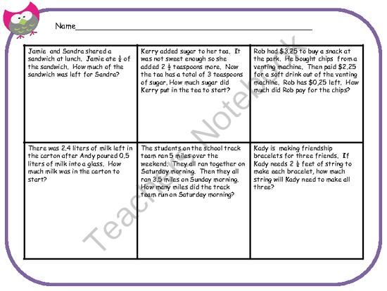freebie friday decimal fraction story problems from missmathteacher on. Black Bedroom Furniture Sets. Home Design Ideas