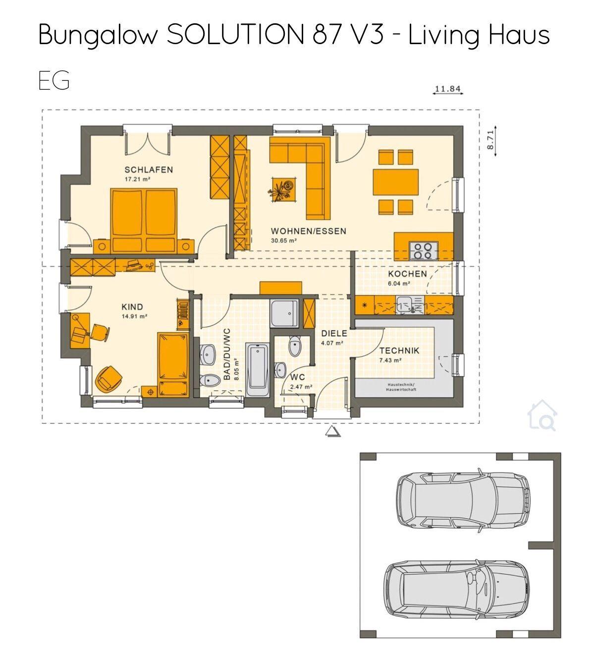 Grundriss Bungalow Haus mit Carport Garage & Satteldach