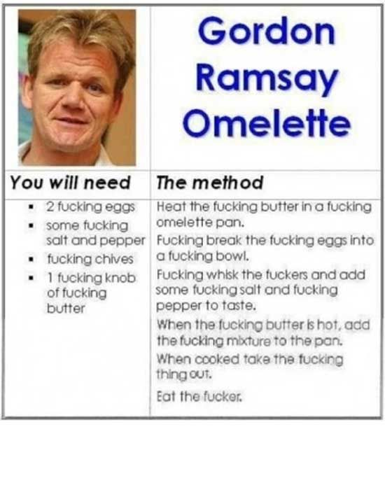 Gordon Ramsay Omelette, wow sounds just like him.