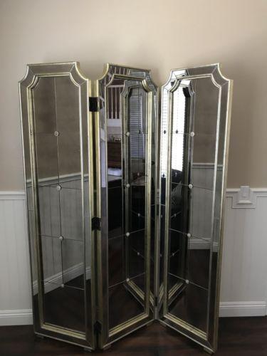 borghese mirrored furniture. Z Gallerie Borghese Mirrored Furniture Room Divider Hollywood Regency Screen HTF