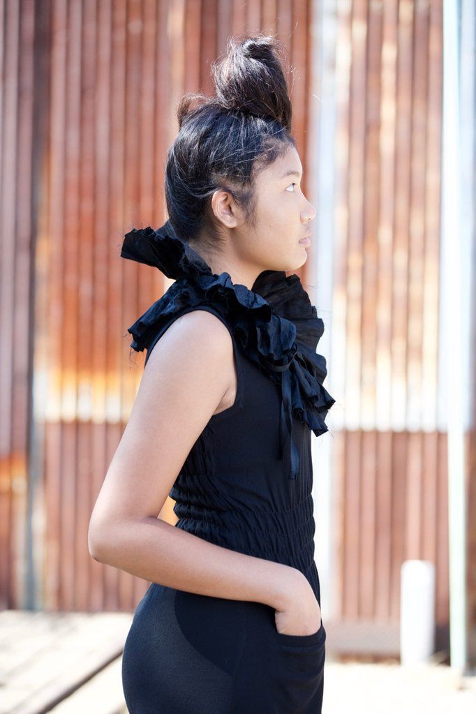 the fiji dress in black wool crepe (opaque). dress has shirring at ...
