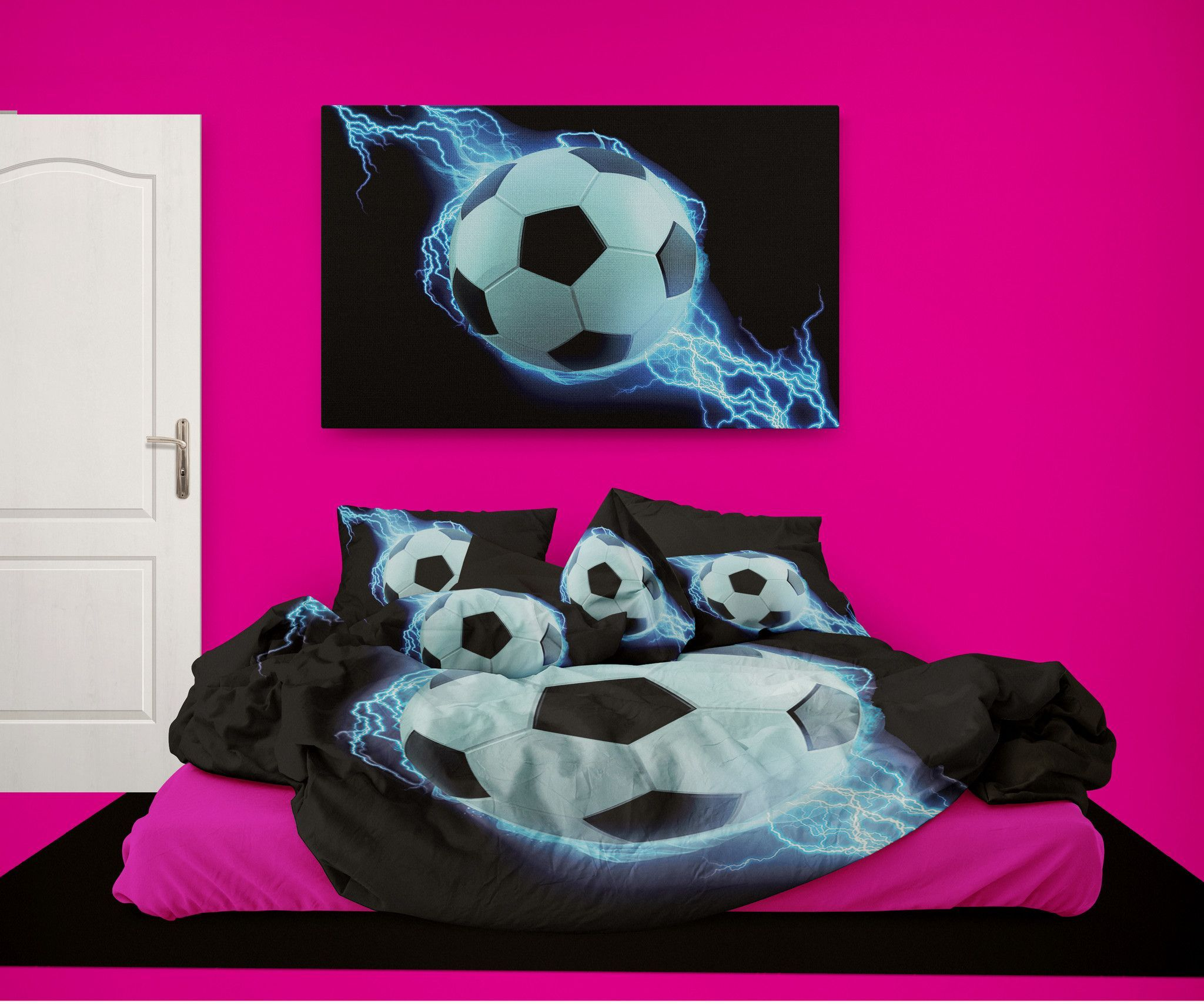 Girls Soccer Comforter from Extremely Stoked Soccer Bedding ...
