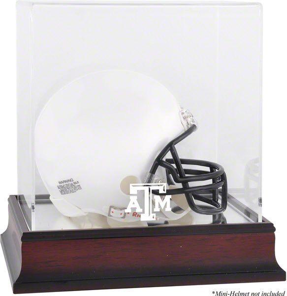 Texas A&M Aggies Mahogany Logo Mini Helmet Display Case with Mirror Back