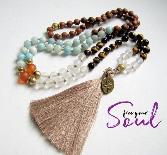 Mindfulness Amazonite Mala Necklace Tiger Eye Mala Beads