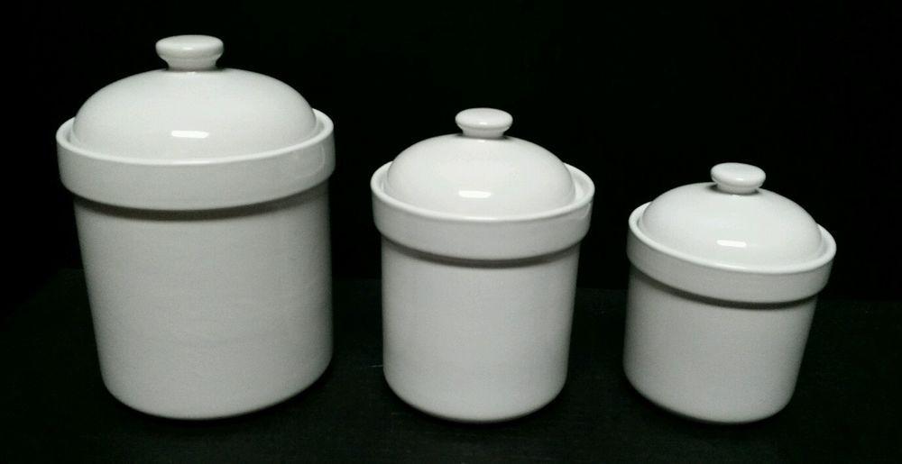 Preferred Stock Canister Jar White Farmhouse 8 6 5 Kitchen Bathroom 3pc