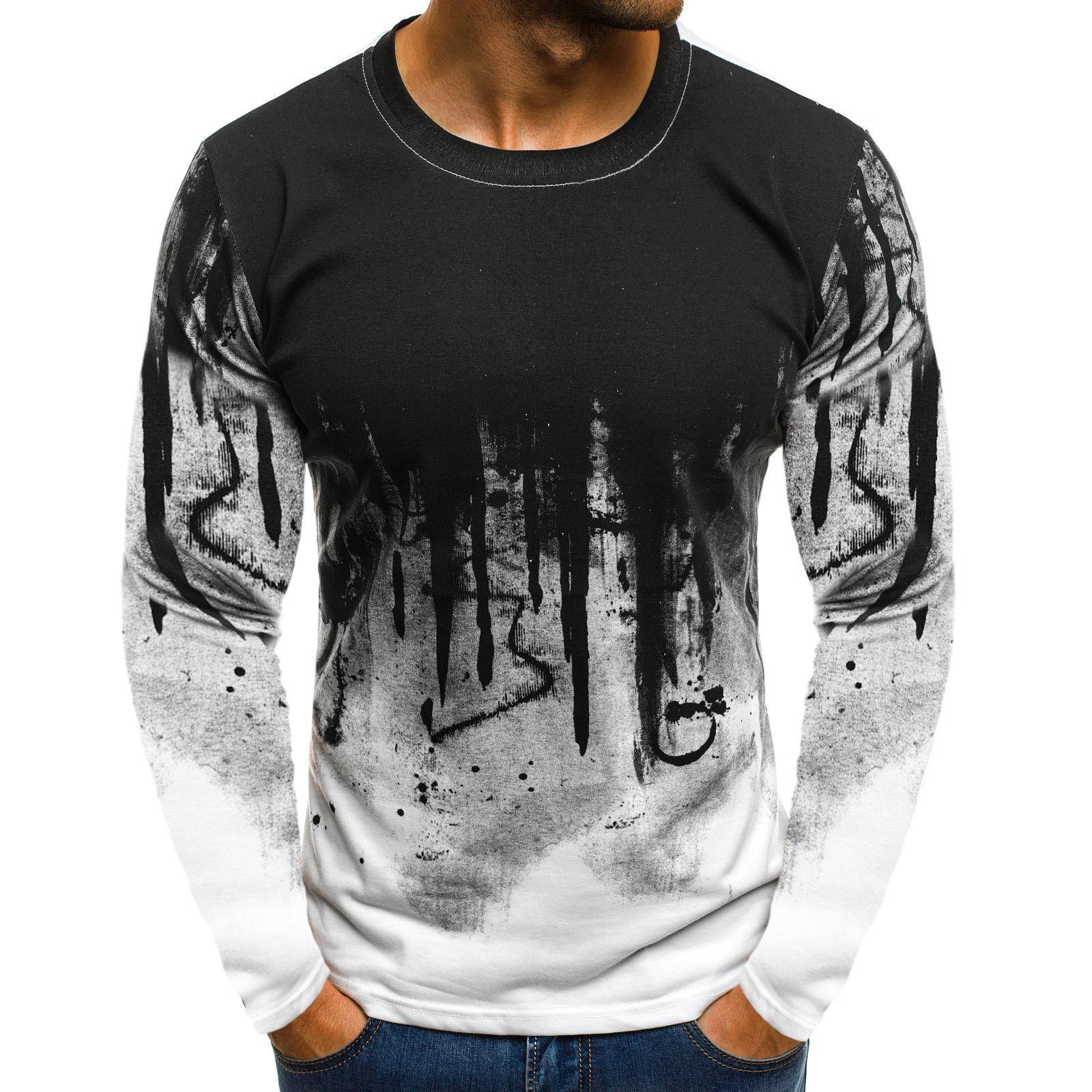 Printed Long Sleeve Mens T shirt in 20   Mens tshirts, Hiphop ...