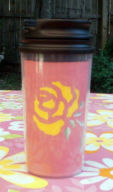 Yellow Rose of Texas 14oz Travel Mug by InspriationWorkshop, $16.00