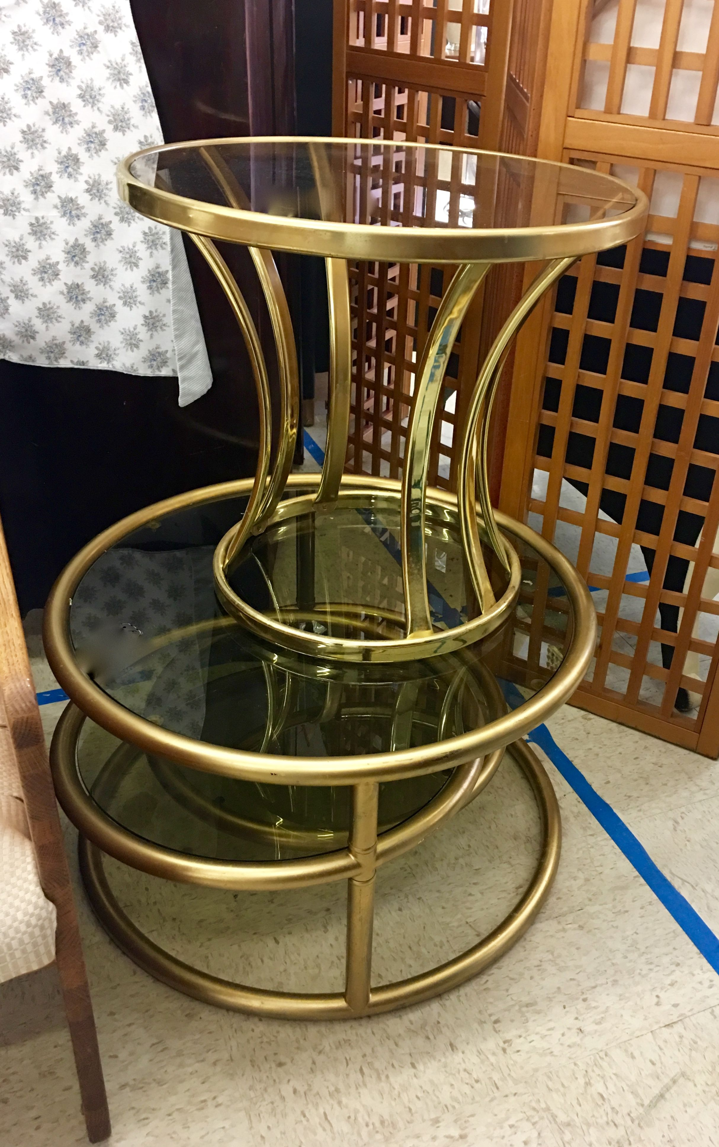 Brass milo table side table 23 diameter x 20 high swing arm top drawer 81 side tables swings dallas coffee tables drawers mid century brass geotapseo Gallery