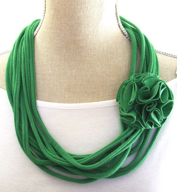 Upcycled Green Jersey Tee Noodle Necklace with Removable Flower Clip, St Patrick's Day, Recycled T-shirt Loop Scarf, Accessory on Etsy, $12.00