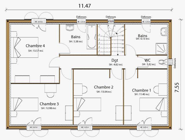 Plan Maison R 1 100m2 Elegant Plan Maison Of Plan Maison R 1 100m2 Beau Cuisine Hot Plan Maison Plein Pied Plan Maiso House Plans House Floor Plans How To Plan