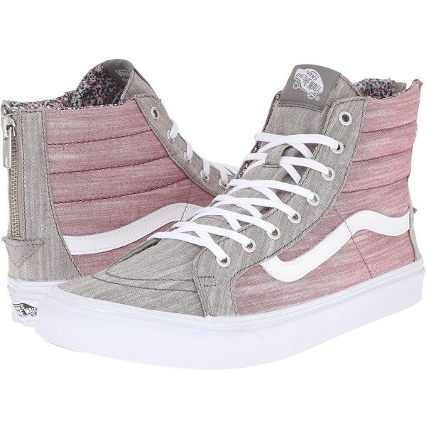 916266ed262d0c Vans SK8-Hi Slim Zip ((Floral Chambray) Gray True White) Skate Shoes ( 80)  ❤ liked on Polyvore featuring shoes