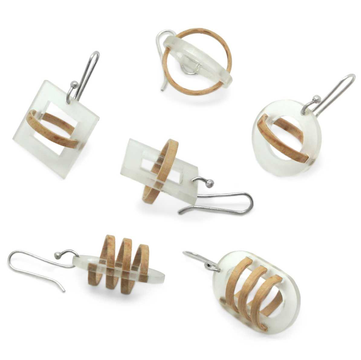 486447188 Mette Jensen - Wood & Acrylic Silver Earrings - ORRO Contemporary Jewellery  Glasgow - www.ORRO.co.uk