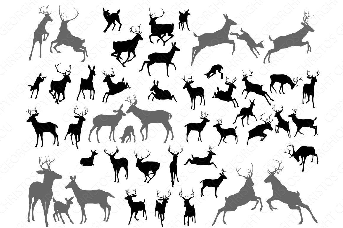 Deer stag fawn and doe silhouettes Deer drawing, Deer