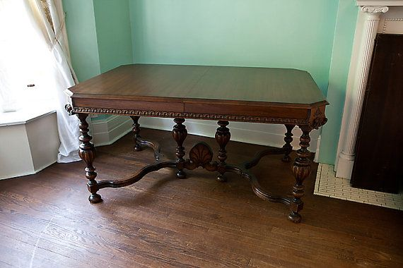 Antique Dining Table Walnut 1920 1930 By Vintagechicfurniture 695 00 Antique Dining Tables Antique Dining Room Furniture Antique Dining Rooms