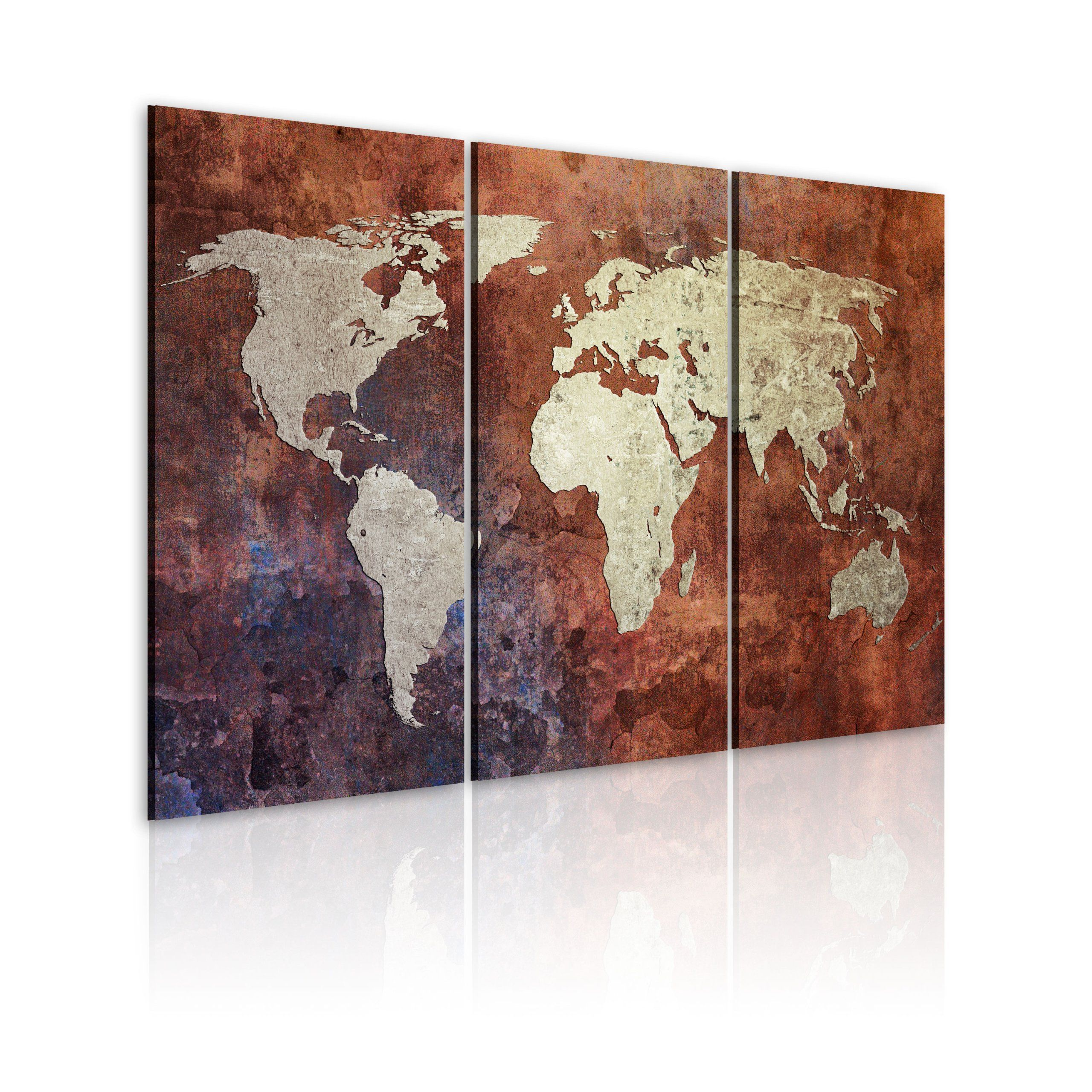 carte du monde murale grand format Grand Format + Impression sur toile + Images + 3 Parties + carte