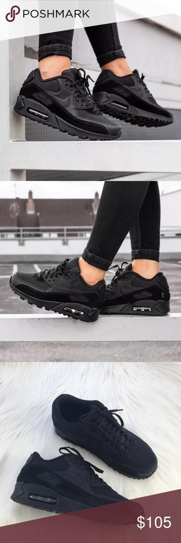 Women's Nike Air Max 90 Black Sneakers   Nike air max 90 ...