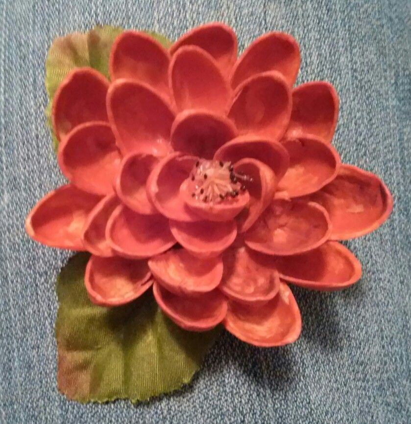 Pistachio Shell Flower Painted With Acrylic Paint Made