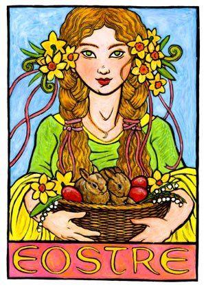Deusa Eostre- Grande Mãe Saxônica Deusa da alvorada, da luz crescente Irradia por onde passa  Amor e alegria na gente. Deusa do renascimento, da vegetação Banha-se no orvalho Traz pureza, beleza e emoção. Deusa da juventude Desperta em mim toda magia E me traga tua plenitude Em todas horas do meu dia.