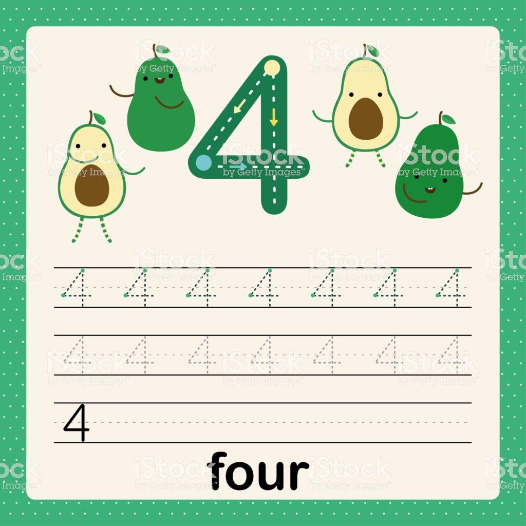 4 Preschool Printable Activities Alphabet Number 4 Card