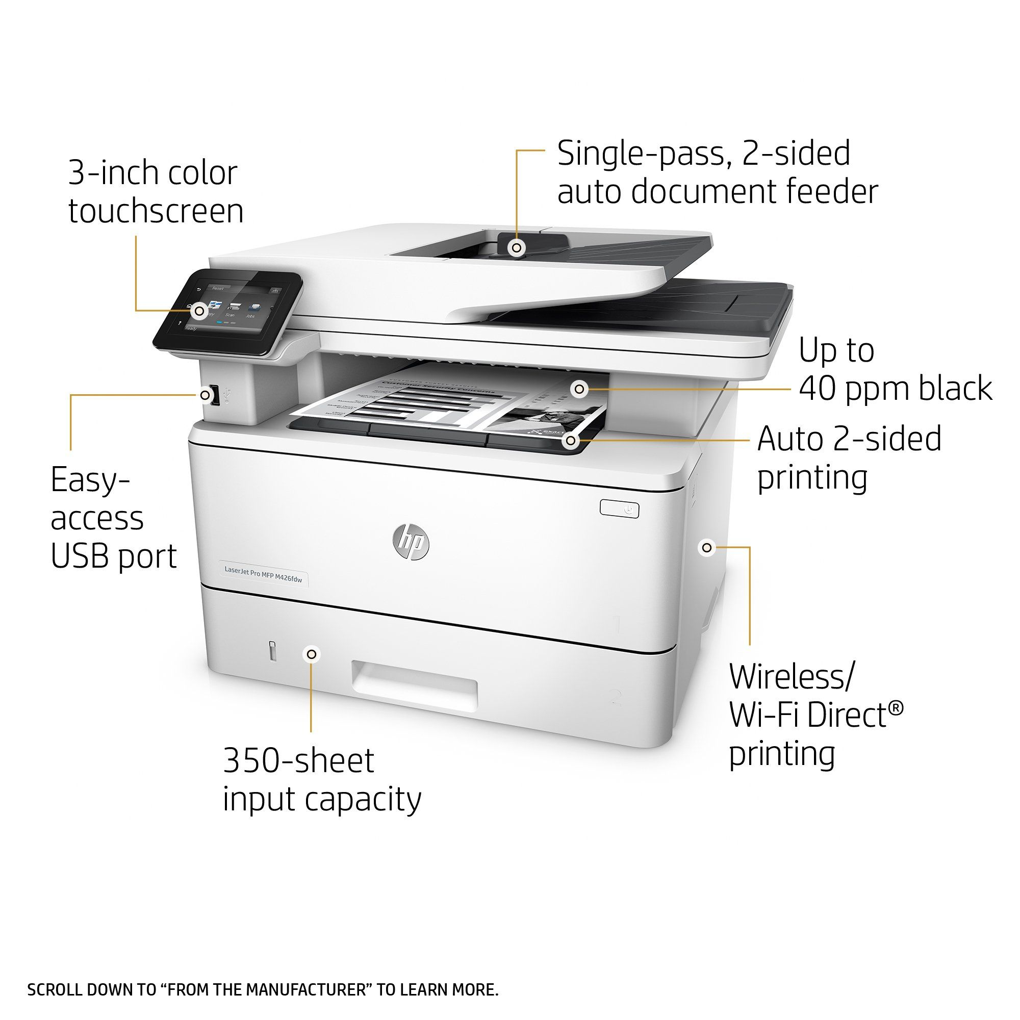 Hp Laserjet Pro M426fdw Multifunction Wireless Laser Printer With