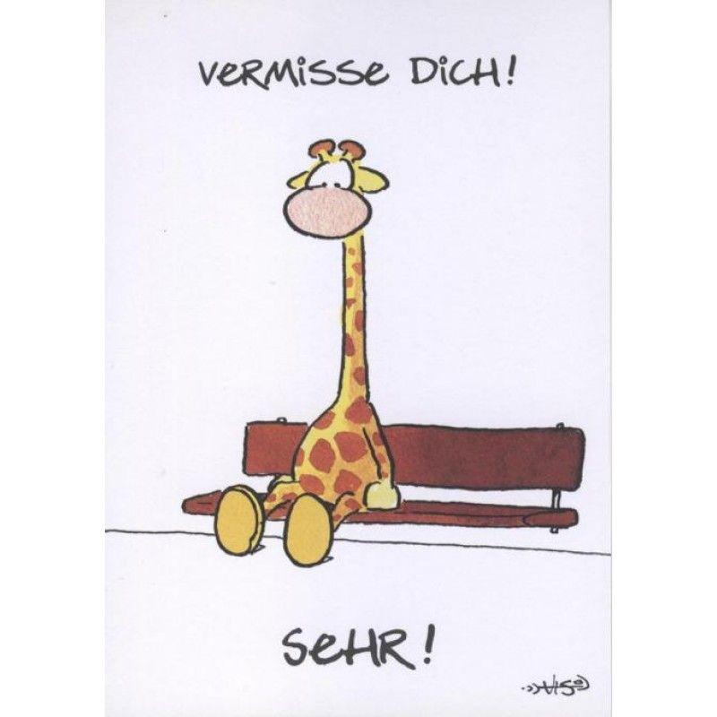 Jan Vis Cartoon Postkarte: Vermiss Dich sehr