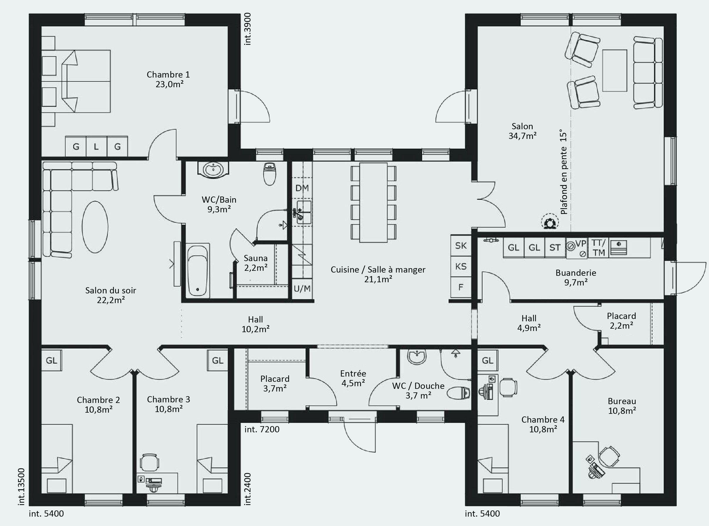 Lovely Plan Maison Plain Pied 4 Chambres 100m2 Plan Maison En U
