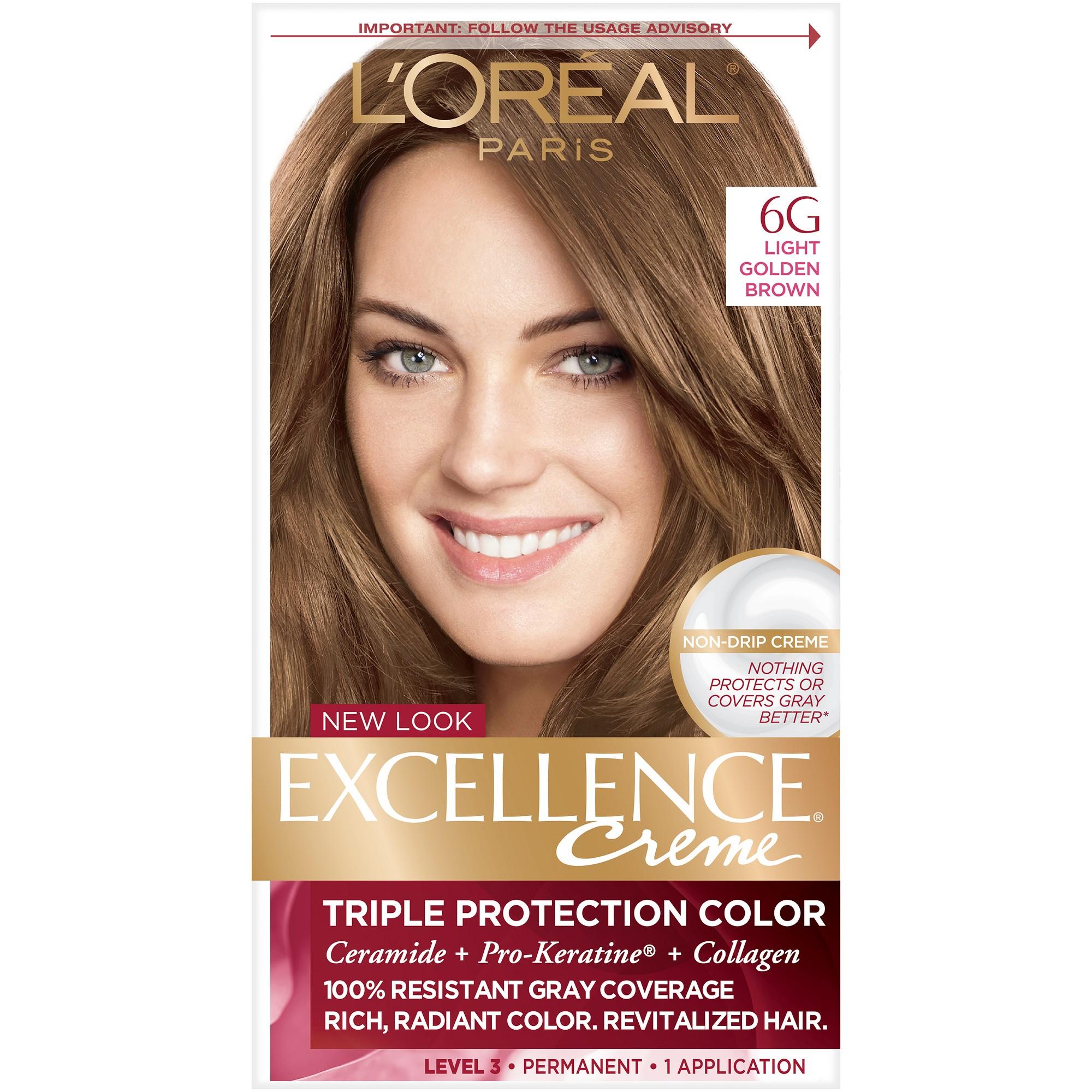 L Oreal Paris Excellence Triple Protection Permanent Hair Color 6 3 Fl Oz 6g Light Golden Brown 1 Kit Loreal Paris Loreal Hair Color