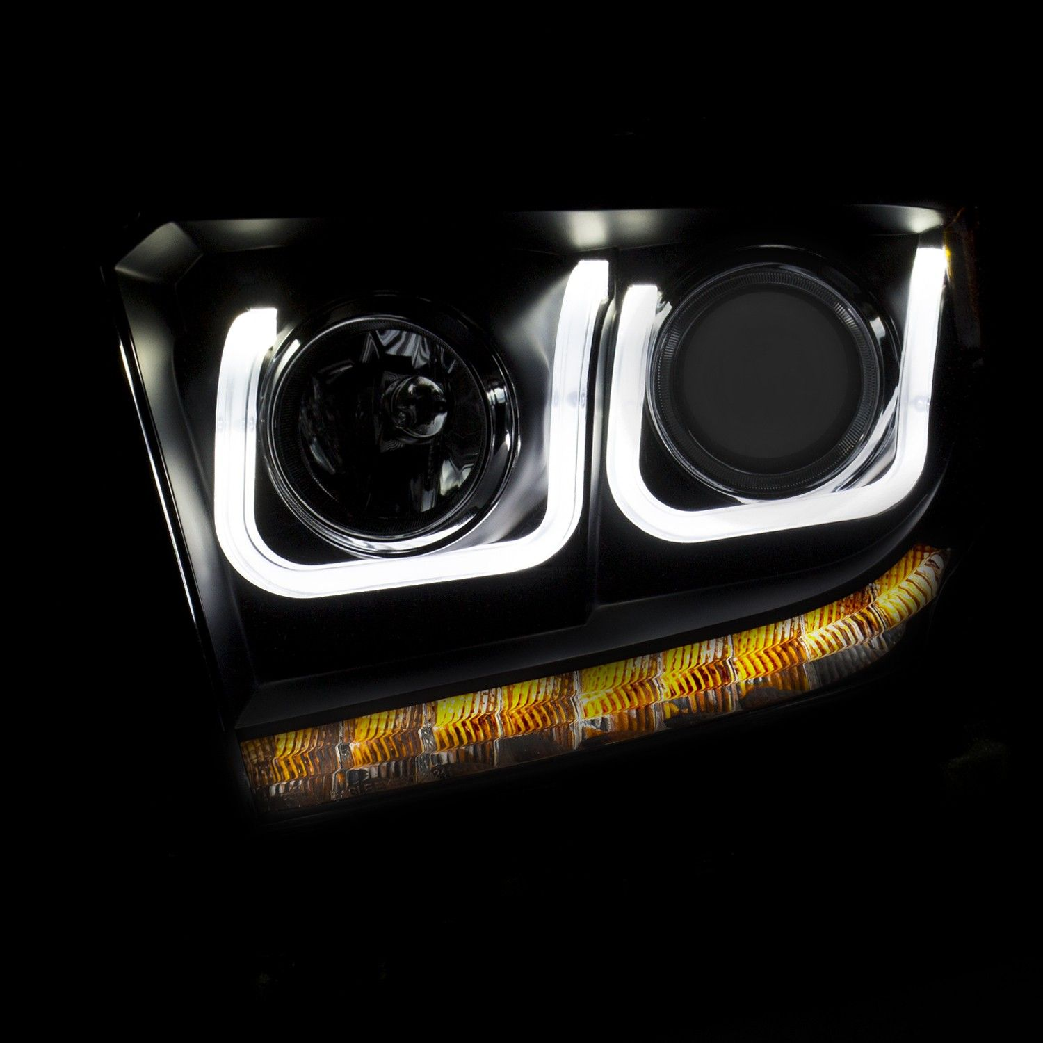 Anzo usa toyota tundra 14 15 projector headlights u bar black clear toyota tundra accessoriesprojectorstrucks