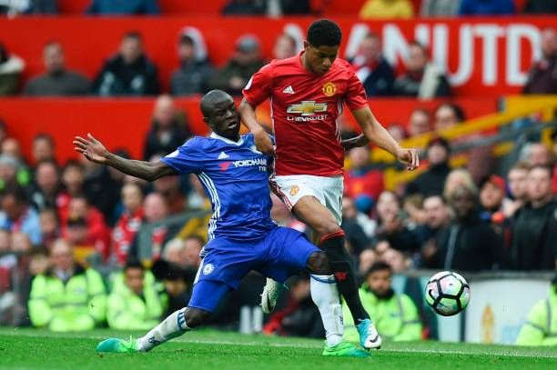 Chelseau0027s French midfielder Nu0027Golo Kante tackles Manchester Unitedu0027s - best of epl table