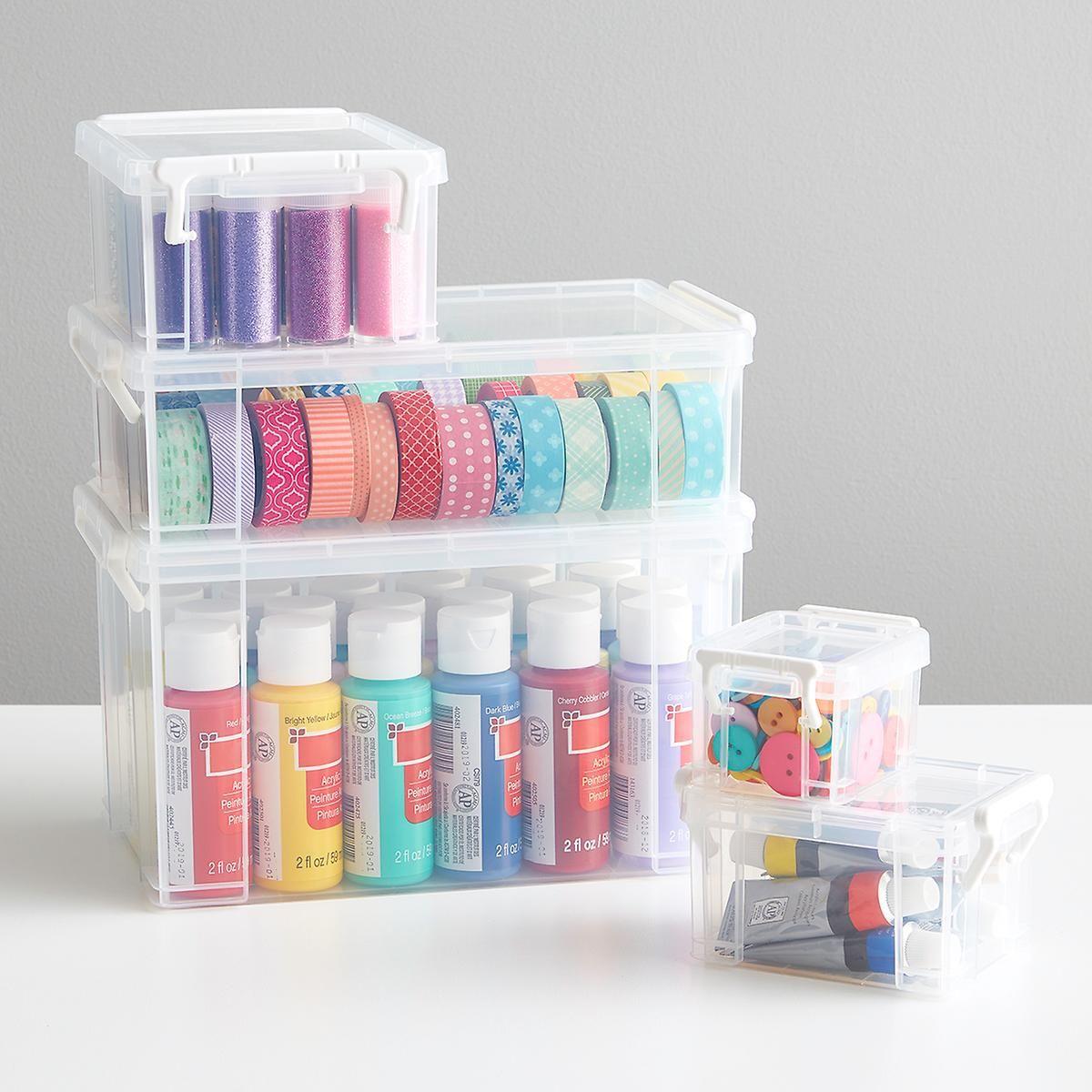 Clear Latch Boxes In 2020 Acrylic Paint Storage Craft Storage Plastic Box Storage