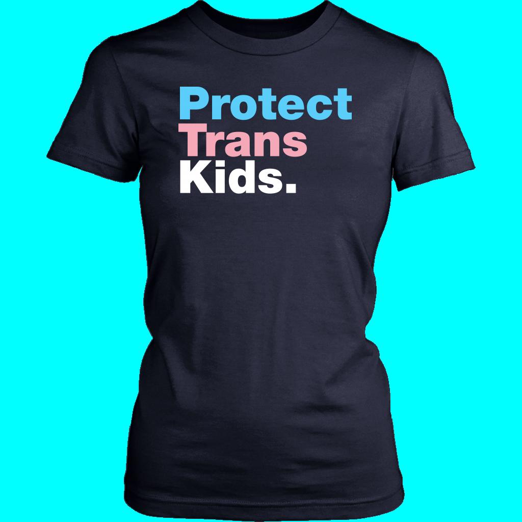 Protect Trans Kids Flag - District Womens Shirt / Navy / 3XL