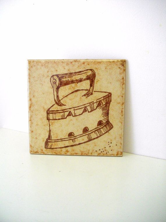 Vintage Laundry Iron Tile by VarietyofGoods on Etsy, $8.50