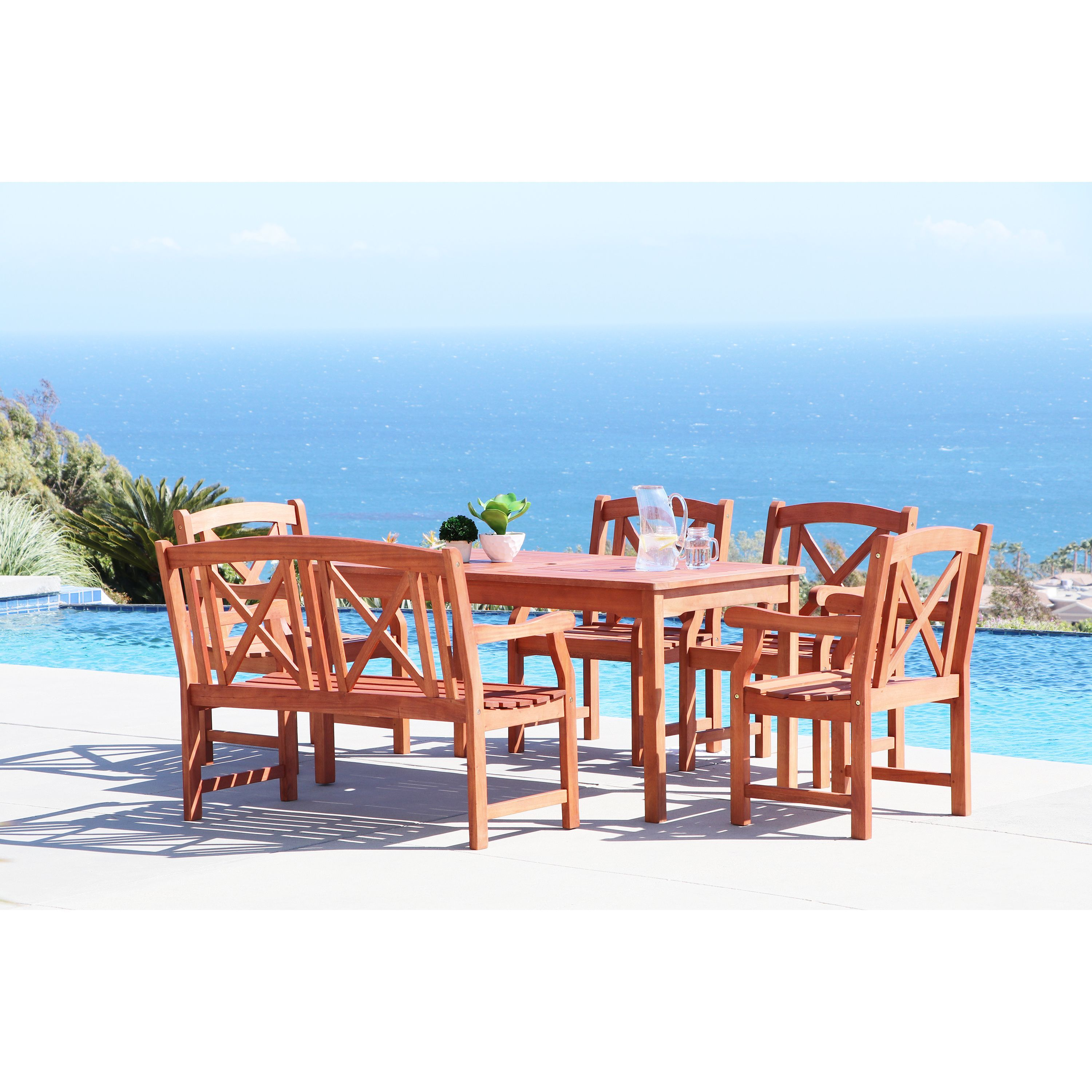 Vifah Malibu Eco Friendly 6 Piece Outdoor Hard Dining Set With Recgle Table 4 Foot Bench And Arm Chairs Patio Furniture Outdoor Dining Set Wood Patio Outdoor Dining