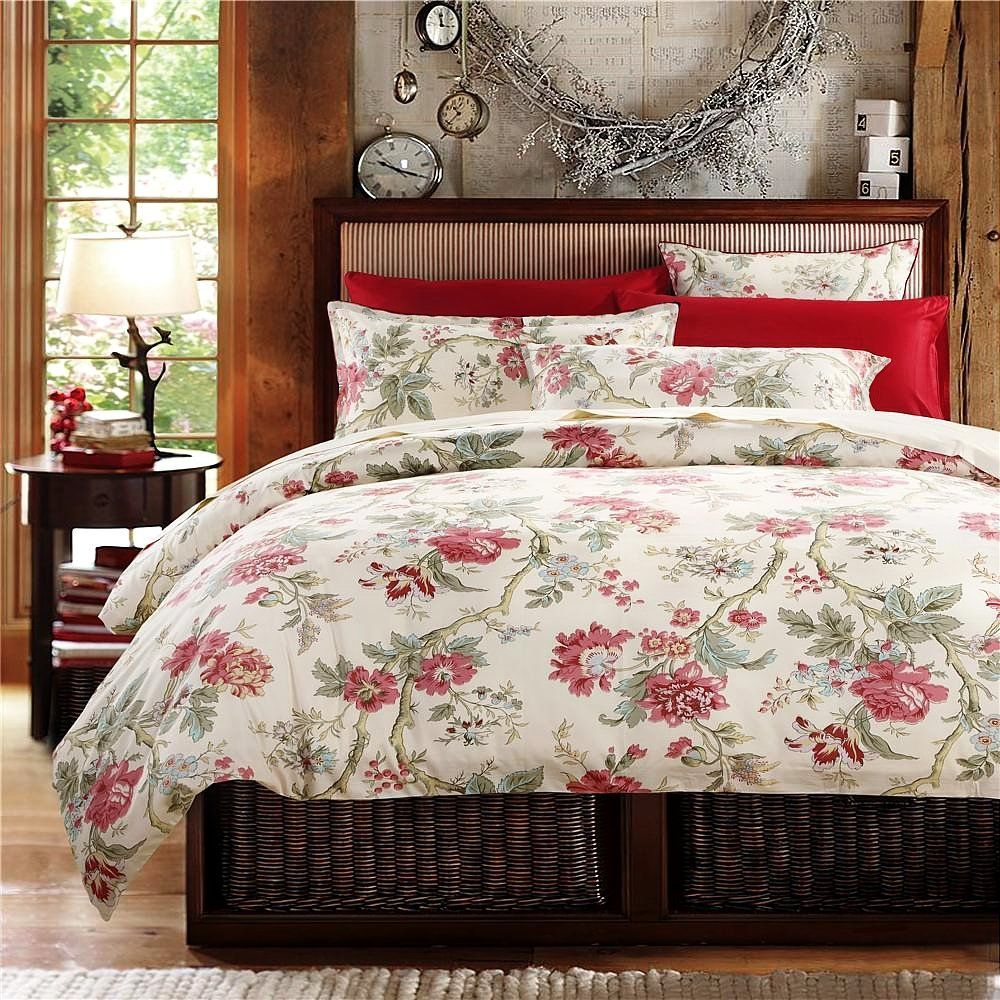 amazoncom french country garden toile floral printed duvet quilt  - amazoncom french country garden toile floral printed duvet quilt covercotton bedding set
