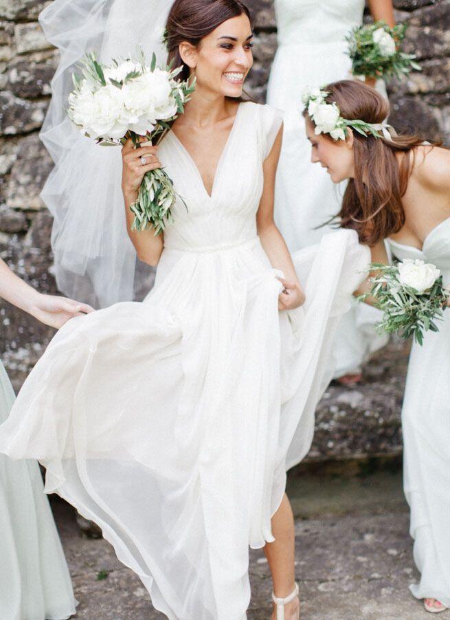 3ea357f67b a little different--$178 deep v neck wide strap ivory a line floor length  chiffon wedding dress