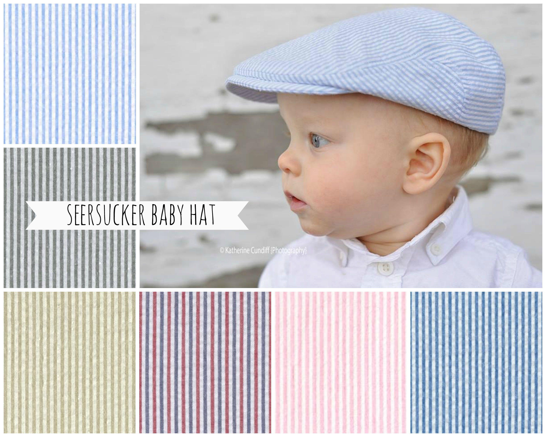 12c3c871e4756 Baby hat, boy seersucker baby hat, flat cap for baby boy, baby newsboy hat, baby  boy newsboy cap, baby golf cap, driving cap - made to order