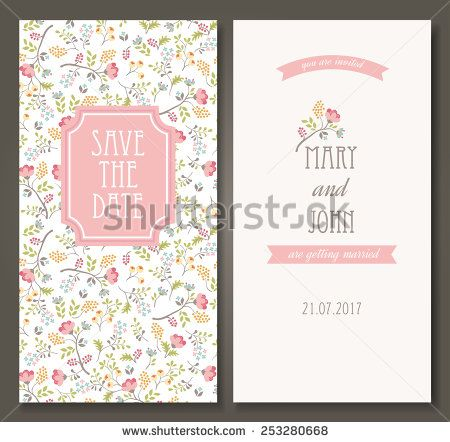 Vintage vector card templates Can be used for Save The Date, baby