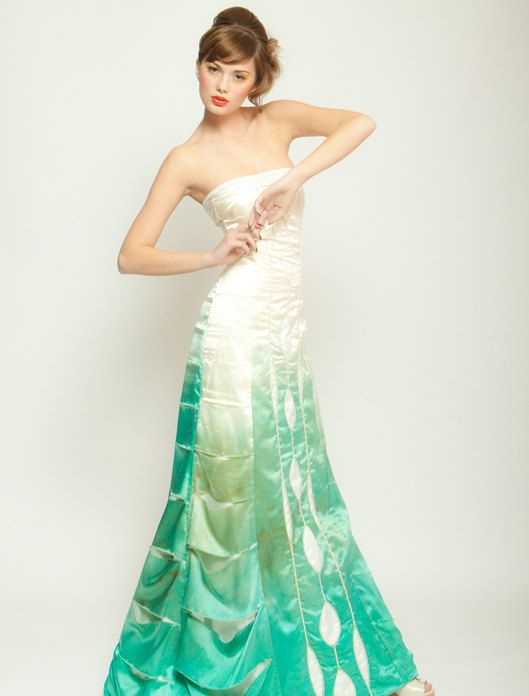 Ombre Silk Wedding Dress, Gradient Artistic Bridal Gown, Green Dip ...