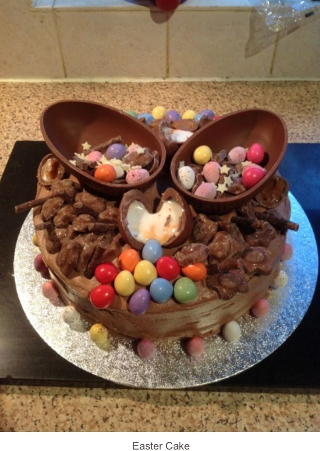Our Easter cake- chocolate with smarties, cream egg, Easter eggs ect.