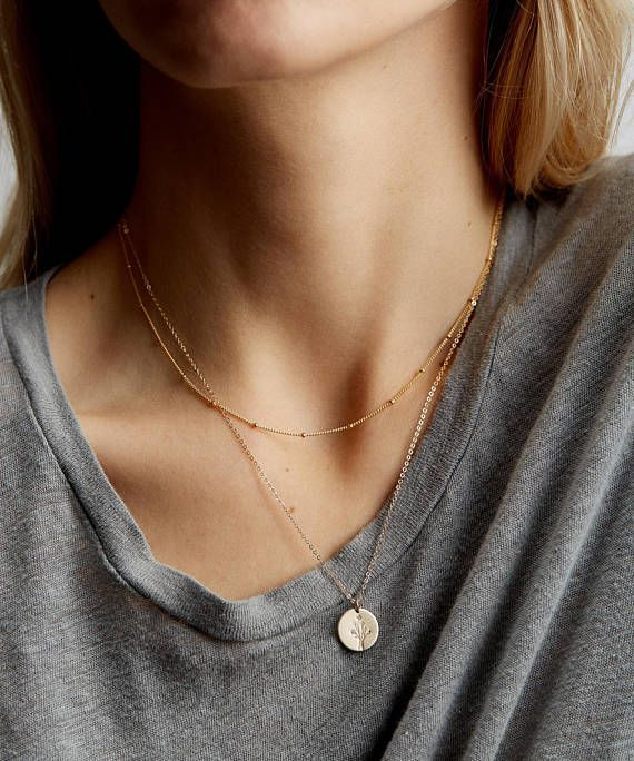 Dainty Layered Necklace Set of 2 - Short and Long Layering Necklaces - Personalized Initial Layer Necklaces with Initials, Symbols - LS959
