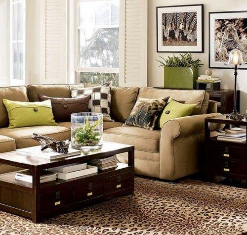 12 fotos de salas en verde y marr n apartamentos for Casa clasica moderna interiores