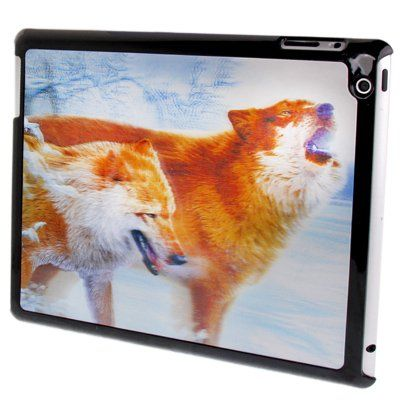 For+iPad+4+3D+Effect+Style+Wolves+Pattern+Plastic+Protector+Case